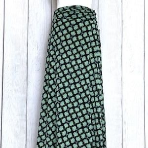 LuLaRoe Black & Green Floral Maxi Skirt
